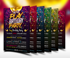 Lets Play Birthday Party Flyer Template by ranvx54