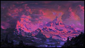 Sunset in the Dragon's Mountains by Emkun