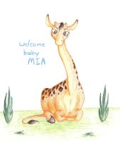 a welcome card for baby mia by jojothe1derbunny