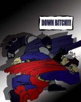 Batman kicking Sup's ass by MoChY