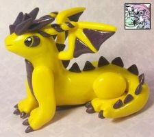 Yellow and Purple Miniature Dragon by prismaticpearls