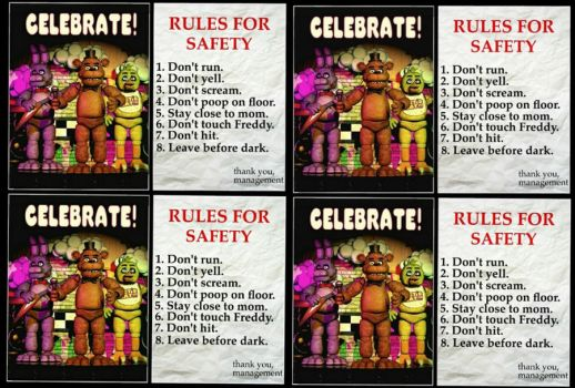 FNaF 1 : Poster and RULES FOR SAFETY  4 by ThunderSolar