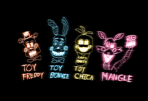 Toy Freddy, Bonnie, Chica and Mangle by daoro94