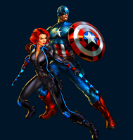 Captain America and Black Widow by WOLFBLADE111