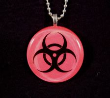 Pink Bio Hazard necklace by AngelElementsEtsy