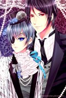 Kuroshitsuji-Ciel and Sebastian by CaptainStrawberry
