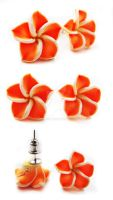 FOR SALE Orange polymer clay flowers posts by Benia1991