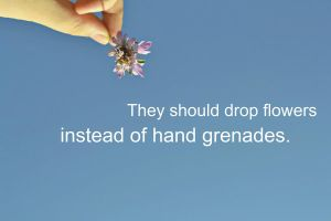 they should drop flowers instead of hand grenades by Screamingmonster