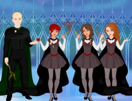 Draco, Sam, Hermione and Ginny by LaSerenity