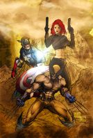 Cap A, Wolvy, Black Widow by SinfiniD