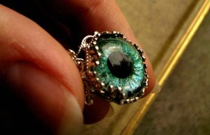 Green Eyed Envy - Estate Eye Ring by LadyPirotessa