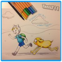 Day 18 Inktober Challenge_Finn and Jake by Tanis711