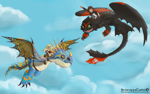 Hiccup And Astrid Dragon Racing! by WitchyTwinzy