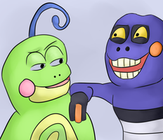 Frogs reacting by PsychoticFlare