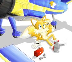 Tails Tinkering With The Tornado by splushmaster12