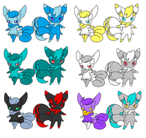 More Meowstic Adoptables by MephistaTheDark