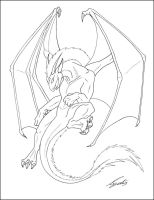 Flying dragon - lineart by thedragonlady