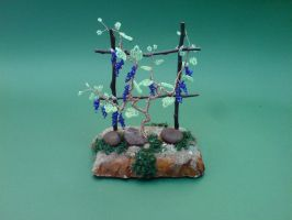 Bonsai Wire Tree Sculpture Beaded Vineyard by sinisaart