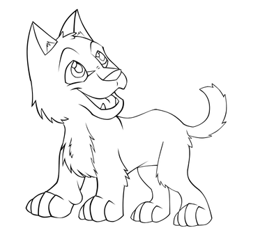 Wolf pup lineart by JustAutumn