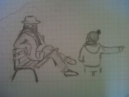 Old man at the park with his grand-son by Laetishaa