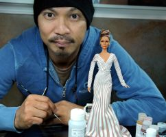 with custom Jennifer Lopez doll by noeling
