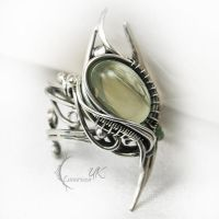 ANTURDIALH  - silver , green moonstone , onyx by LUNARIEEN