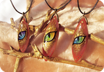 Golden dragon eyes - stone painting necklaces by AlviaAlcedo
