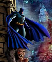 Batman over Gotham by willmottram