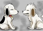Snoopy and Akamaru by Ash-Dragon-wolf