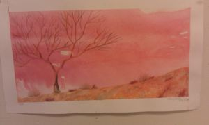 Watercolor Tree and Rocks by cheyxlove