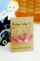 Raspberry Beaded Hoop Earrings by BoutiqueVintage72