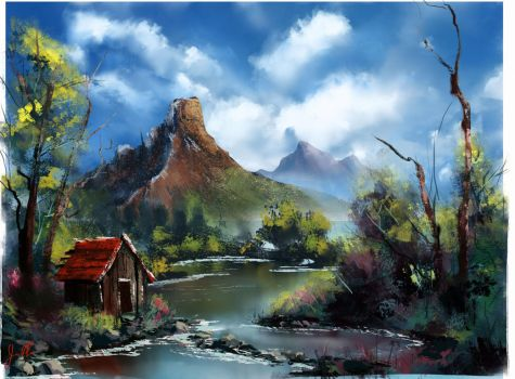 Bob Ross: River Cabin by theWinkWonk