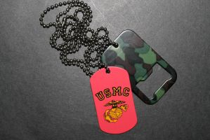 Marine Corps Dog Tag and Dog Tag Bottle Opener by sabresteen