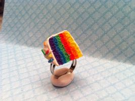Rainbow Cake Slice Ring by KatGore