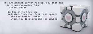 Companion Cube Speaks by GmrGirlX