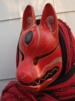 Red grey kitsune mask by missmonster