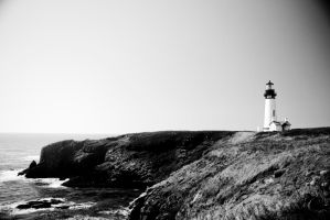 Black and White Lighthouse by PhotogAdam