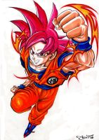 Goku Supa Saiyajin God  _  READY 2 KICK SOME ASS by Acid-Flo