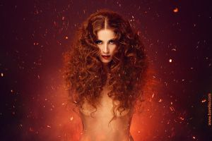 Red-haired beauty in sparks by gromaler