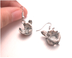 Handmade broken and burned thee-cups earrings by MiniSweetx