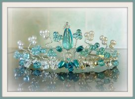 turquoise and crystal tiara by tindink