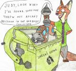 Nick found Rocket Raccoon in the garbage container by Hamster56
