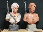 Witcher 3  Ciri bust. Final bust and clay bust by Leebea