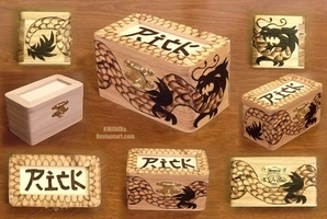 Woodburned Dragon Box 2 by KiRAWRa