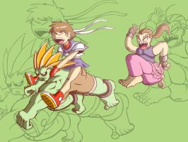 Blanka, Sakura and Dan by DmitriYu