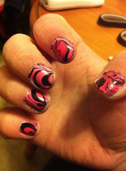 Water Marbling first attempt by KhavenNitefall