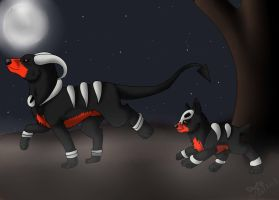 Houndoom And Houndour by edizzle13