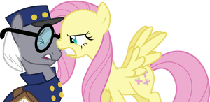 Fluttershy getting up in the mailponies face by Uponia