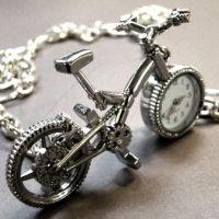 Bike Pocket Watch Necklace by Om-Society