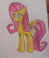Fluttershy hand-drawn by JonnyB1250